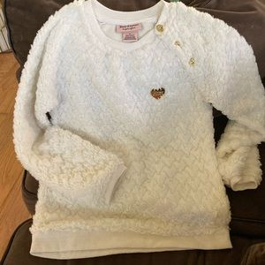 JUICY COUTURE fuzzy sweater with gold accents
